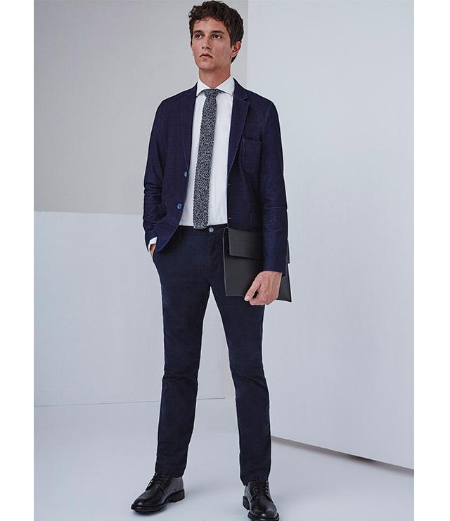 Blazer azul para hombre - Corbata en punto de lana -  Moda AD Hombre  -  Adolfo Dominguez