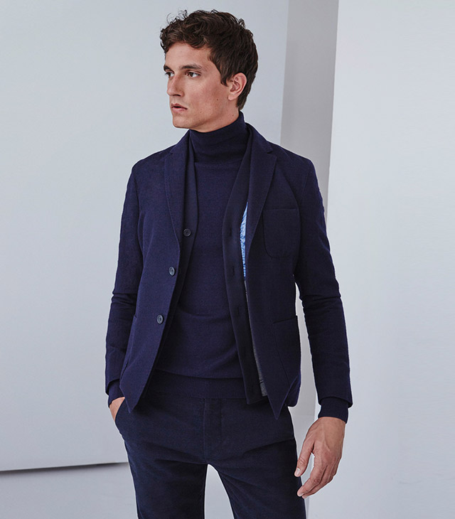 Blazer de punto texturizado para hombre - color azul marino-  Moda AD Hombre  -  Adolfo Dominguez