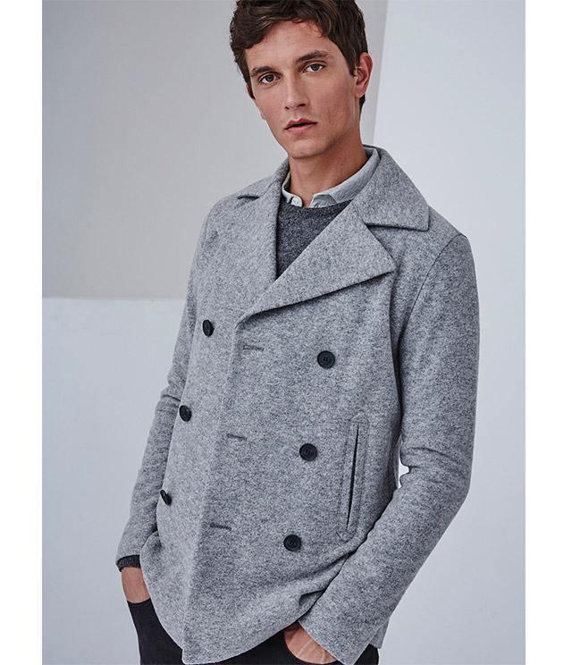 Abrigo gris abotonado para hombre - Looks de oficina -  Moda AD Hombre  -  Adolfo Dominguez