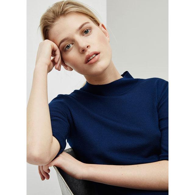 Jersey de punto con cuello perkins – color azul - Moda AD mujer - Adolfo Dominguez Online