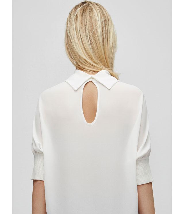 Camisa fluida con cuello perkins - color blanco - Moda AD mujer - Adolfo Dominguez Online