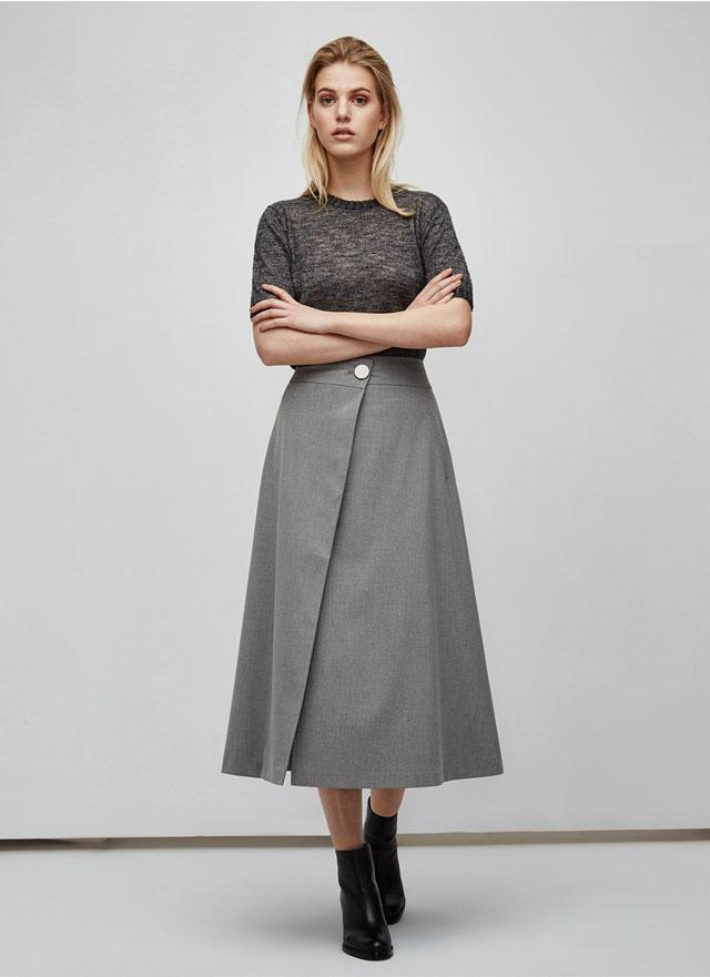 Falda midi con abertura  – Jersey fino de lana melange - Moda AD mujer - Adolfo Dominguez Online