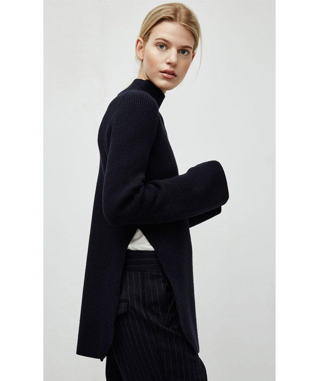 Jersey  de punto con aberturas -  color negro - Moda AD mujer - Adolfo Dominguez Online