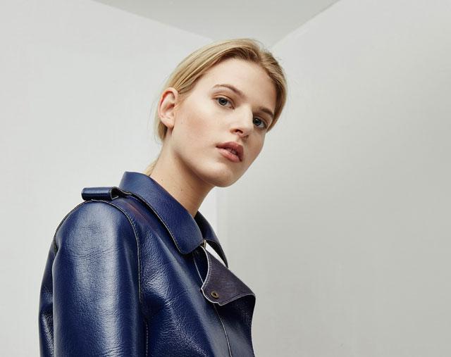 Chaqueta de piel -  color azul - Moda AD mujer - Adolfo Dominguez Online