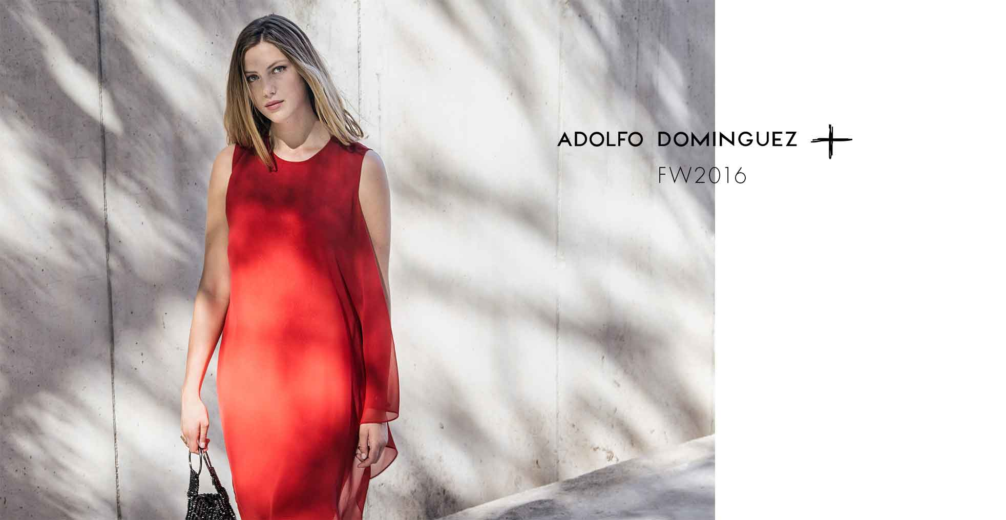 Red Asymmetric Dress - vaporous textures and sleeveless - Fashion women - AD Plus Adolfo Dominguez