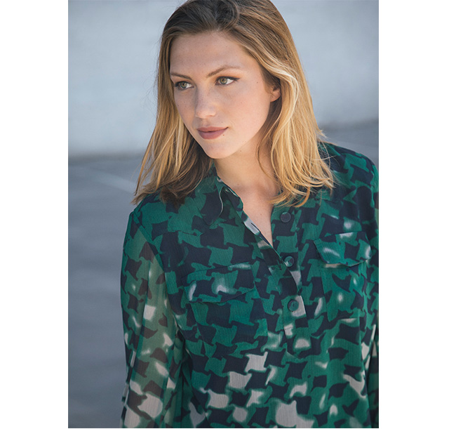 Green-colored print blouse - Woman Fall Winter Fashion - AD Plus 2017 Adolfo Dominguez