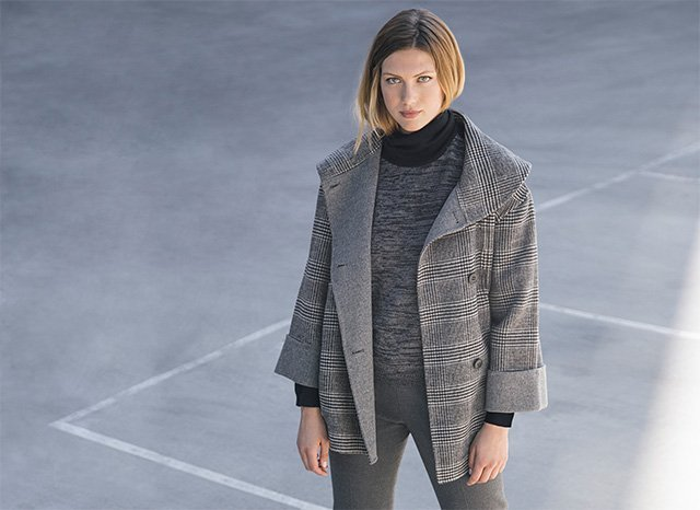 Gray jacket with houndstooth pattern - Textured gray Jersey - Women's Fashion - AD Plus Adolfo Dominguez