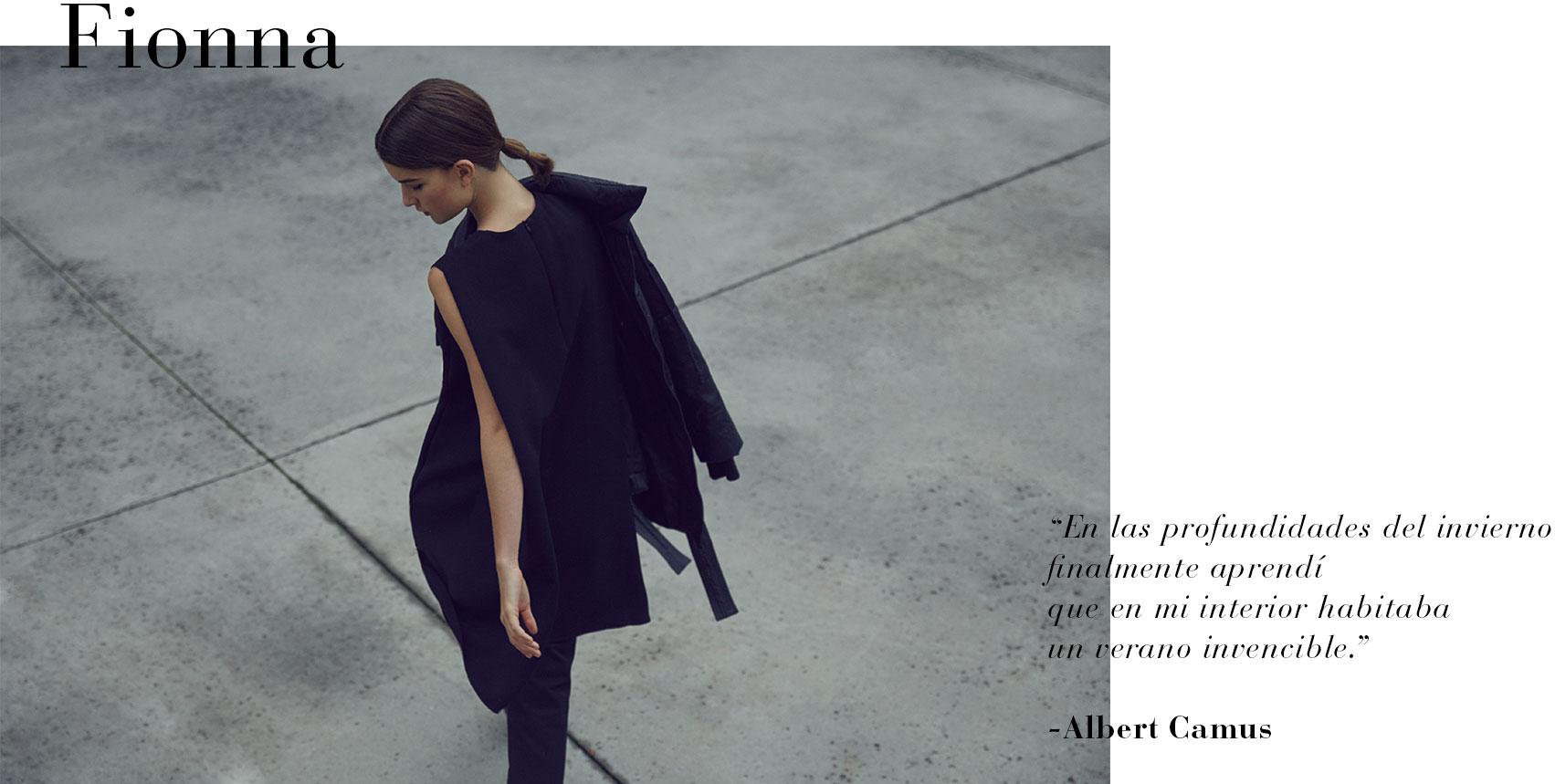 Abrigo negro envolvente  - Abrigos de invierno AD Mujer  -  Adolfo Dominguez
