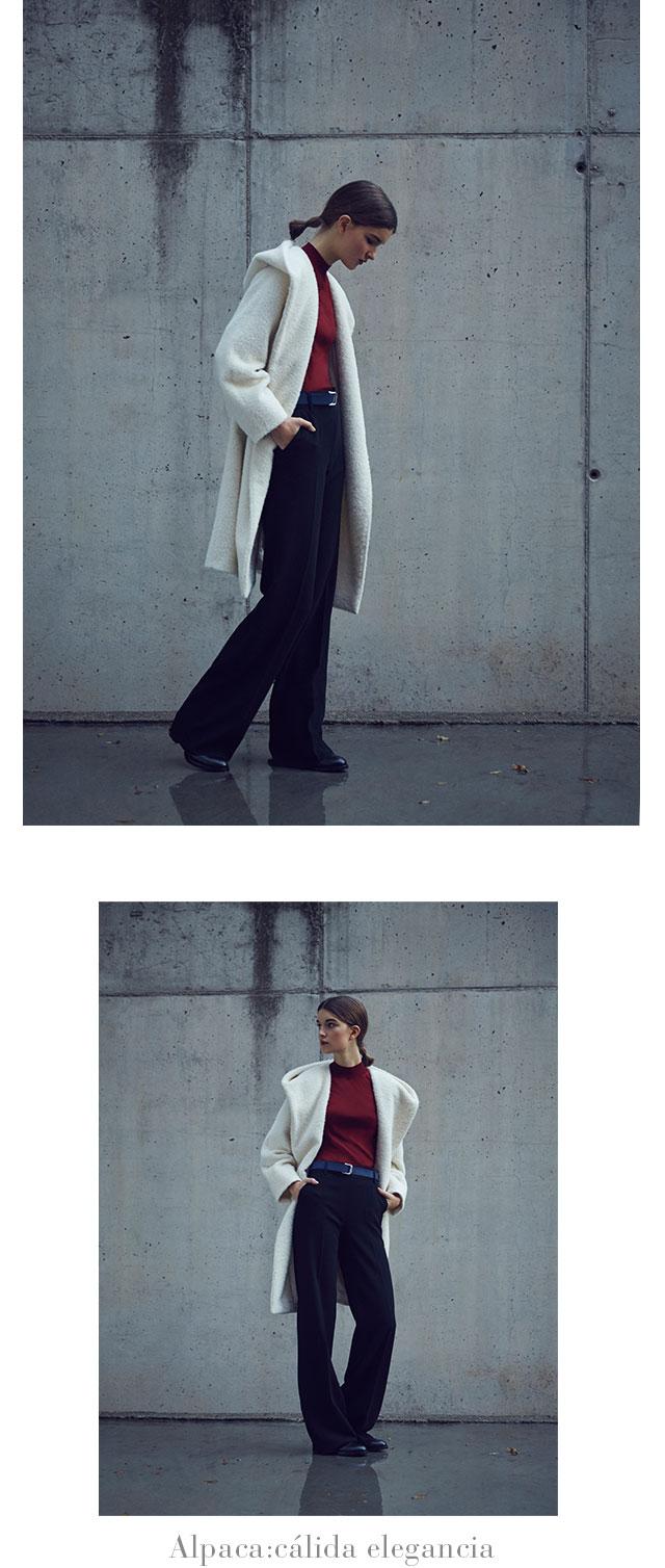 Abrigo gris de punto -  Abrigos de invierno AD Mujer -  Adolfo Dominguez Online