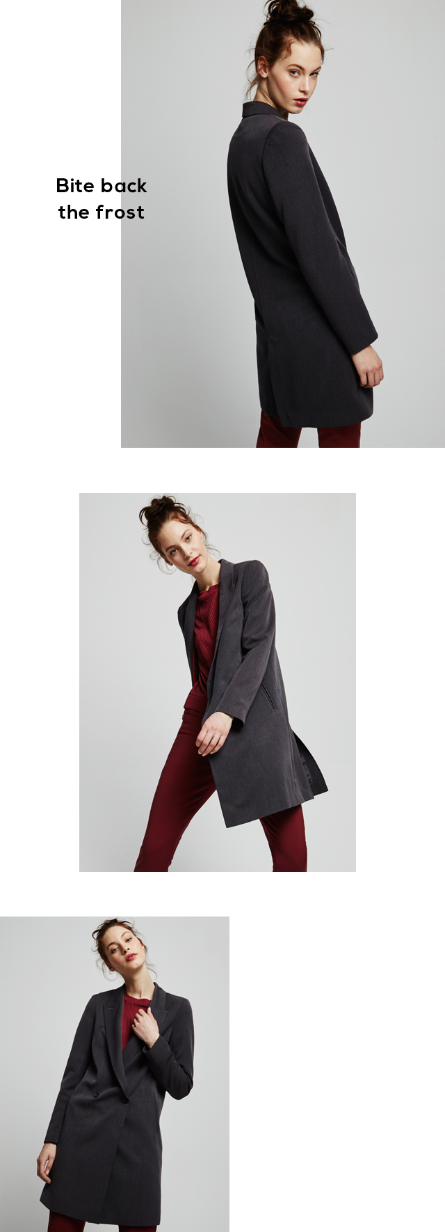Long gray coat - Winter coats U Woman -  Adolfo Dominguez Online