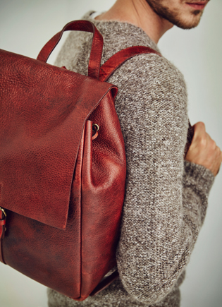 Sweater - Leather backpack - Knitwear AD Man  -  Adolfo Dominguez