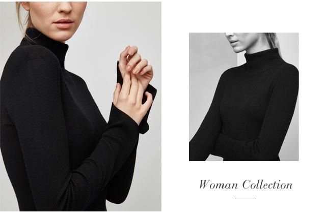Jersey de cuello alto - jerseis negros - Prendas de punto AD Mujer  -  Adolfo Dominguez Online