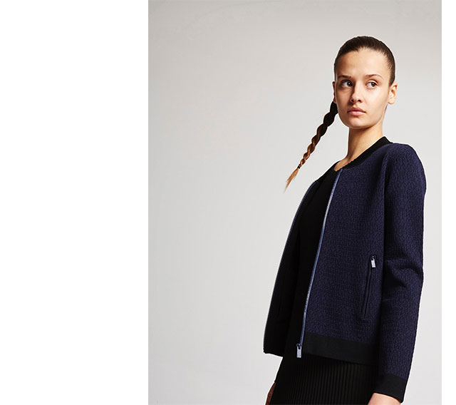 Jacket blue print New York  - Knitwear U Woman  - Adolfo Dominguez Online