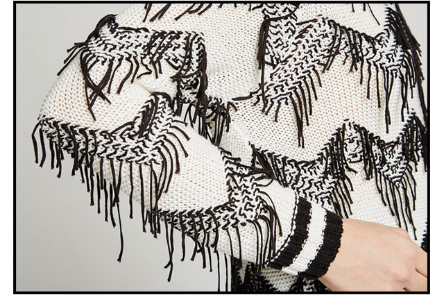 Jacquard fringed Sweater - white - Knitwear U Woman - Adolfo Dominguez Online
