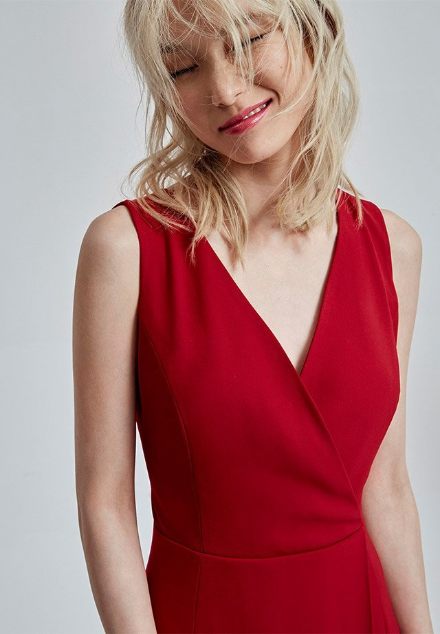 Red Criss Cross Neckline Dress - women's dresses - AD Fashion woman - Adolfo Dominguez Online